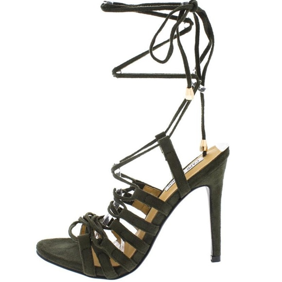 Cape Robbin Shoes - Colima Army Olive Strappy Lace Up Open Toe Heel